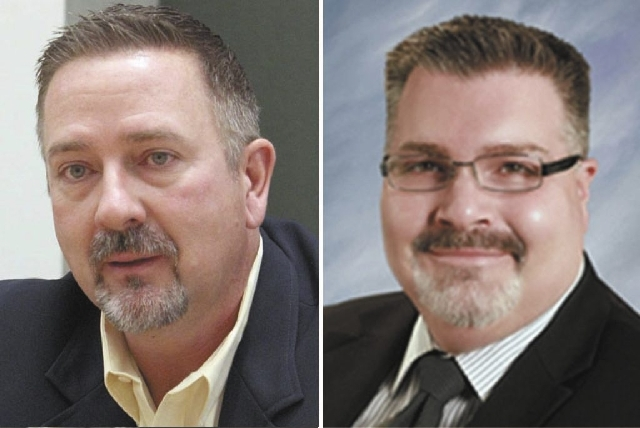 North Las Vegas City Manager Tim Hacker, left, and City Attorney Jeffrey Barr, right, both resigned Wednesday.