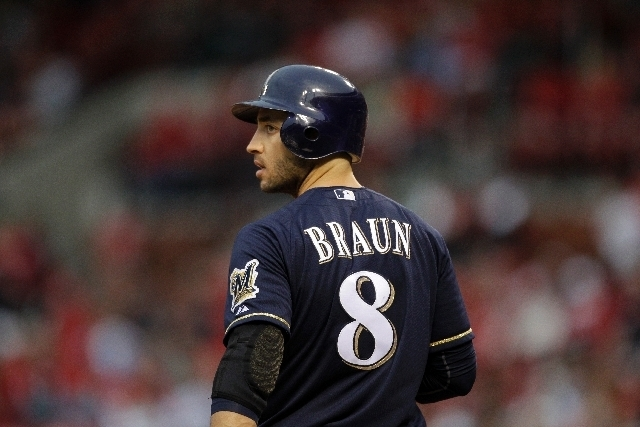 File-This April 27, 2012 file photo shows Milwaukee Brewers' Ryan Braun preparing to bat during a baseball game against the St. Louis Cardinals  in St. Louis. (AP Photo/Jeff Roberson, File)