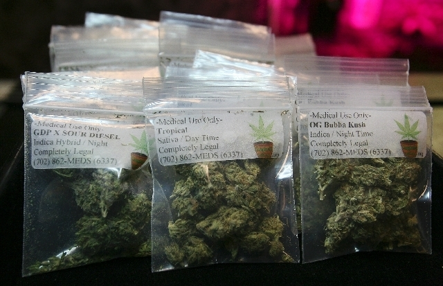 Small medical marijuana packets are displayed at Completely Legal 2.0, a medical marijuana co-op in 2011.