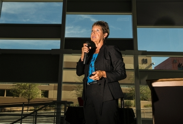 Pam Salazar, chair of the Teachers and Leaders Council, speaks during a school administrators seminar Wednesday at West Career and Technical Academy in Las Vegas.