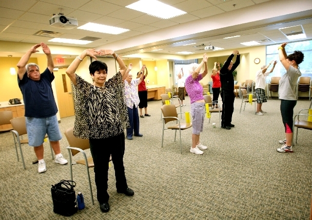 Eleanor Howard, 79, front left, and others take part in an exercise class funded through the Arthritis Foundation.