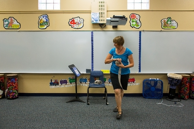 Gibson Elementary School music teacher Lee Hanby decides where to place her classroom seating chart. (Samantha Clemens/View)