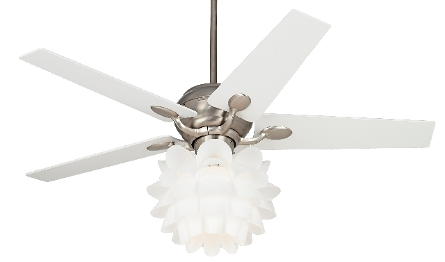 Simply by changing the light fixture, such as with this 52-inch fan with a white flower light, you can add a touch of modern or contemporary style to any room.