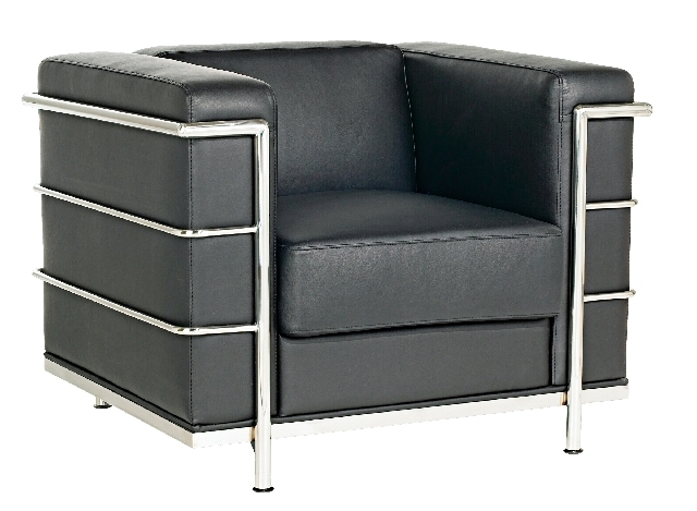 For a modern seat, try this Fortress black cube leather arm chair.