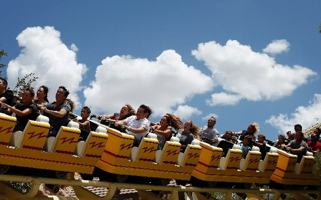 People ride The Desperado roller coaster at Buffalo Bill's in Primm on Friday. The roller coaster was free to ride all day.