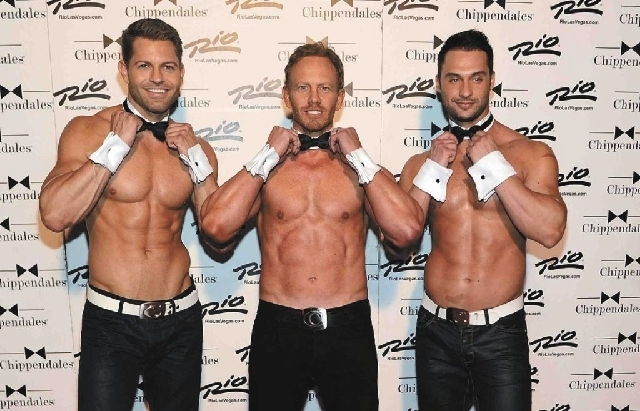 """Actor Ian Ziering, center, is trying to get Chippendales members Jaymes Vaughan, left, and James Davis cast in the """"Sharknado"""" sequel. (Denise Trucello/Special to Las Vegas Review-Journal)"""