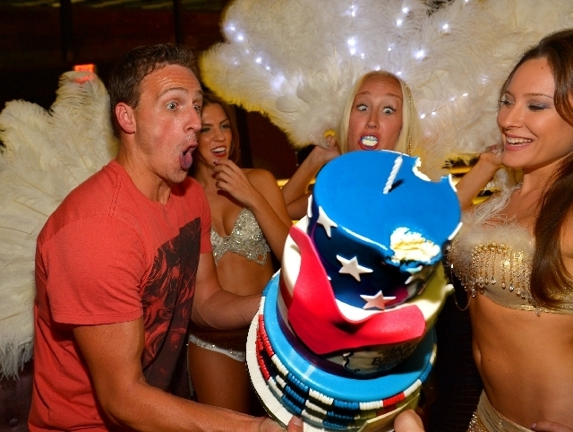Olympic swimmer Ryan Lochte had a little fun with a falling birthday cake at SHe restaurant in Crystals CityCenter last Friday. He was all over Vegas for days, partying next at Tao Beach dayclub a ...