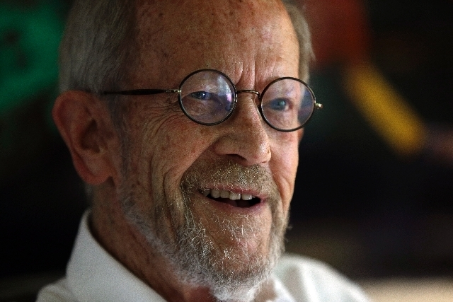 In this Sept. 17, 2012 photo, Author Elmore Leonard, 86, smiles during an interview at his home in Bloomfield Township, Mich. Leonard, a former adman who later in life became one of America's for ...