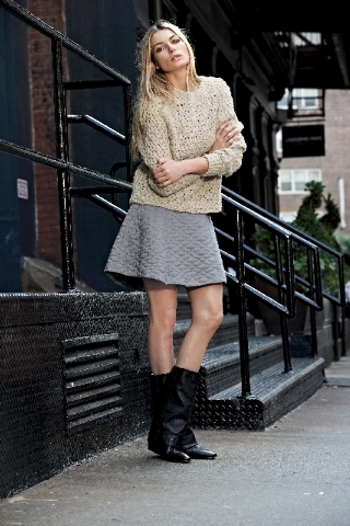 Theory Olivier Theyskens padded A-line miniskirt, $345, open-weave marina wool and knit sweater, $425; See by Chloe foldover boots with silver tap, $620, all available at Saks Fifth Avenue.