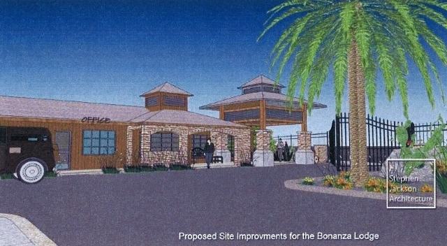 Artist's rendering of improvements proposed for the Bonanza Lodge at 1808 E. Fremont St. Proview, a downtown property company, is seeking to freshen two dilapidated motels on Fremont Street. (Cou ...