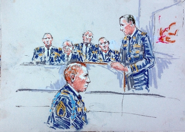 In this courtroom sketch, Staff Sgt. Robert Bales, left, appears before Judge Col. Jeffery Nance in a courtroom at Joint Base Lewis-McChord, Wash. on Tuesday, Aug. 20, 2013, during a sentencing he ...