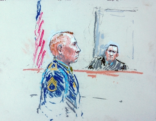 In this courtroom sketch, Staff Sgt. Robert Bales, left, appears before Judge Col. Jeffery Nance in a courtroom at Joint Base Lewis-McChord, Wash. on Tuesday. (AP Photo/Peter Millett)