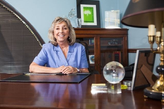 U.S. Rep. Dina Titus, D-Nev., sits in her Las Vegas office at the now-antique mahogany desk of former U.S. Sen. Howard Cannon. Cannon's daughter Nancy Downey of Genoa loaned it to Titus, who ...