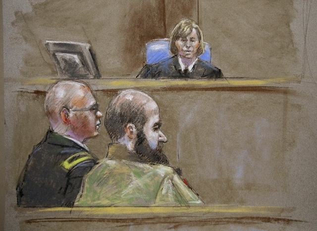 ---In this court room sketch, Judge Col. Tara Osborn, top, Maj. Nidal Malik Hasan, right, and defense attorney, Lt. Col. Kris Poppe, left, are shown, Wednesday, Aug. 21, 2013, in Fort Hood, Texas. ...
