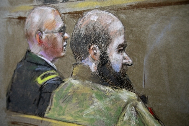 ---In this court room sketch of court proceedings in the court martial of U.S. Army Maj. Nidal Malik Hasan, Hasan, right, and his defense attorney, Lt. Col. Kris Poppe, left, are shown, Wednesday, ...
