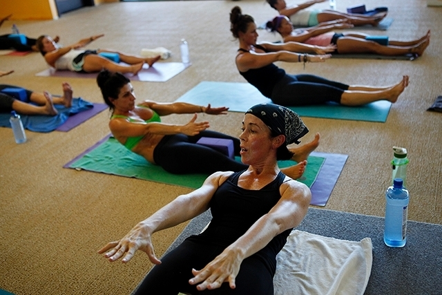 Liz Steers leads a Tru Hot Pilates class at Summerlin Yoga.