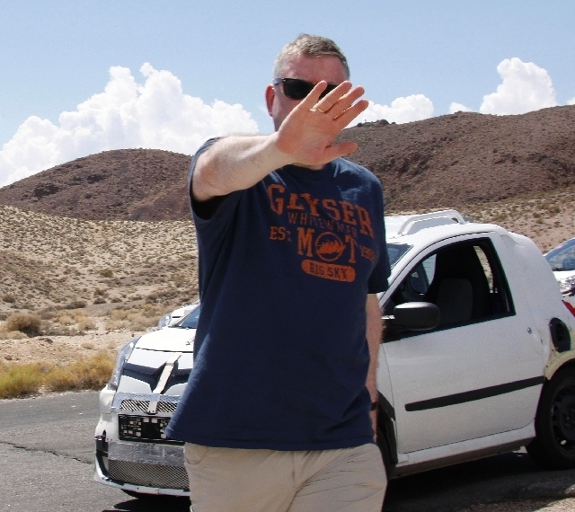 An automotive engineer tries to block Brenda Priddy's view of his face and the prototype he was testing in Death Valley earlier this month. In 20 years of spy photography, Priddy has taken albums ...