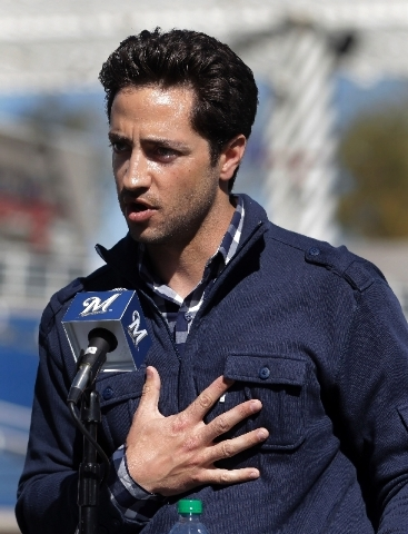 In this Feb. 24, 2012 file photo, Milwaukee Brewers' Ryan Braun speaks during a news conference at spring training baseball in Phoenix. Braun stood on a spring training field and proclaimed he wa ...