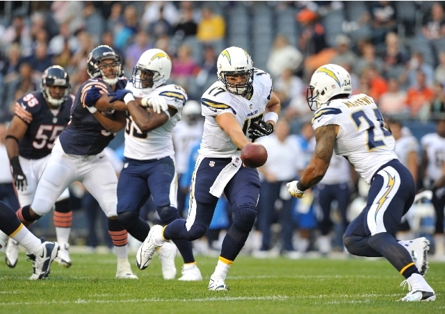 Quarterback Philip Rivers, running back Ryan Mathews, right, and the San Diego Chargers will struggle to win eight games and beat their posted season-win total of 7½. (Jim Prisching/The Associate ...