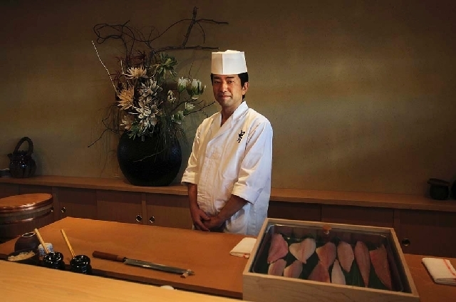 Gen Mizoguchi is the executive chef and general manager of Kabuto Edomae Sushi in Las Vegas. He designed the restaurant to be similar to a traditional Tokyo sushi restaurant. (Jason Bean/Las Vegas ...