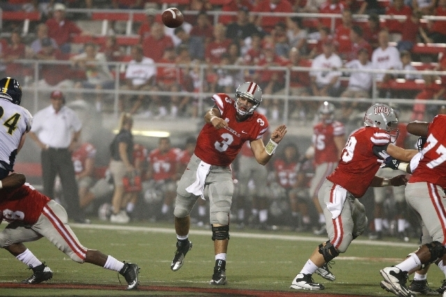 UNLV quarterback Nick Sherry passed for 2,544 yards and 16 touchdowns last season as a freshman, but he also threw 17 interceptions for a team that finished 2-11. (John Locher/Las Vegas Review-Jou ...