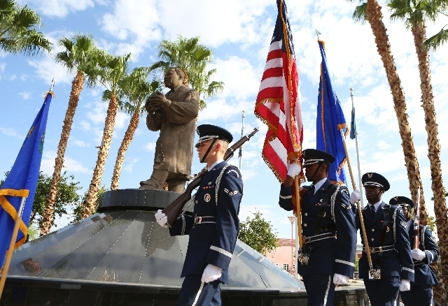 A Nellis Air Force Base Honor Guard marches past a statue of Martin Luther King Jr. during a Saturday rally to commemorate the 50th anniversary of the March on Washington that featured Martin Luth ...