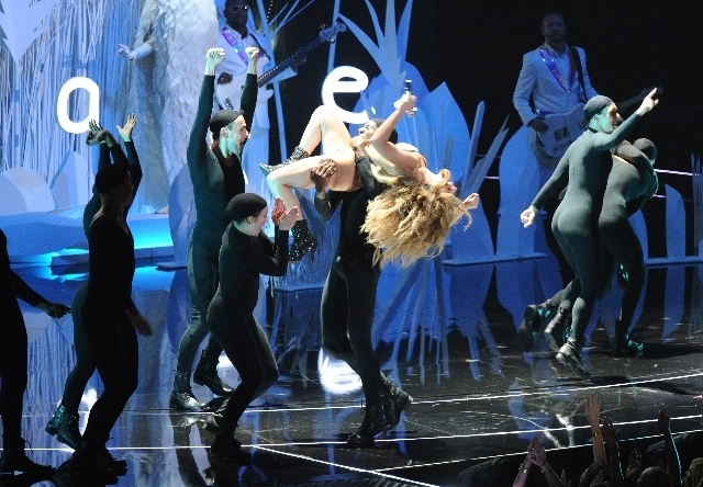 """Lady Gaga performs """"Applause"""" during the MTV Video Music Awards Sunday at the Barclays Center in Brooklyn, N.Y. (Charles Sykes/Invision/The Associated Press)"""
