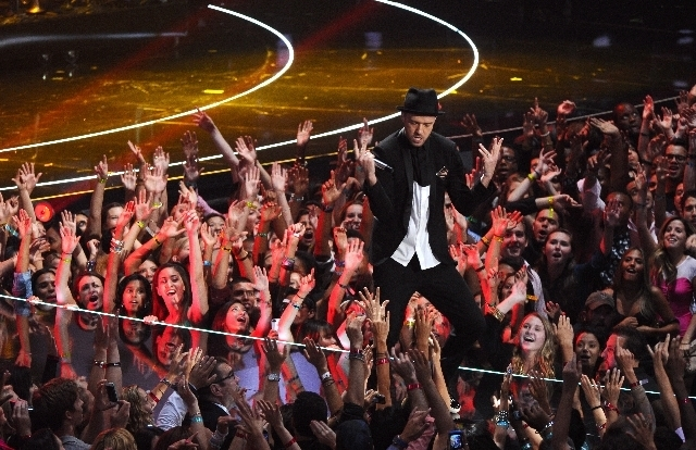 Justin Timberlake performs at the MTV Video Music Awards Sunday at the Barclays Center in Brooklyn, N.Y. (Charles Sykes/Invision/The Associated Press)