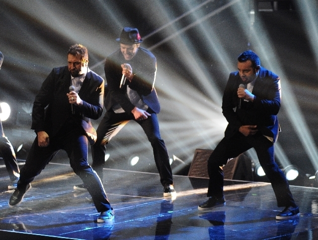 Joey Fatone, left, Justin Timberlake and Chris Kirkpatrick of 'N Sync perform at the MTV Video Music Awards on Sunday at the Barclays Center in Brooklyn, N.Y. (Charles Sykes/Invision/The Associat ...
