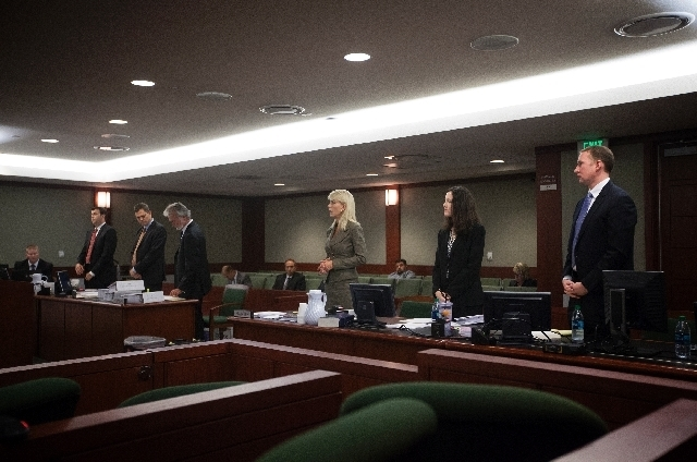 Attorney Pat Lundvall, representing The Act, third from right, speaks in a tenant-renter lease disagreement between Las Vegas Sands Corp. and the adult-themed nightclub The Act at the Regional Jus ...