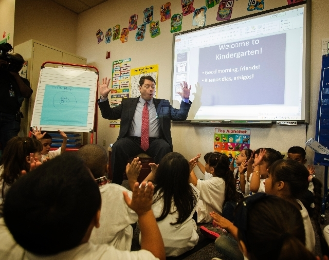 Clark County School District  Superintendent Pat Skorkowsky while reading a book to kindergarten students during the first day of school event at Cambeiro Elementary School at 2851 E. Harris Avenu ...