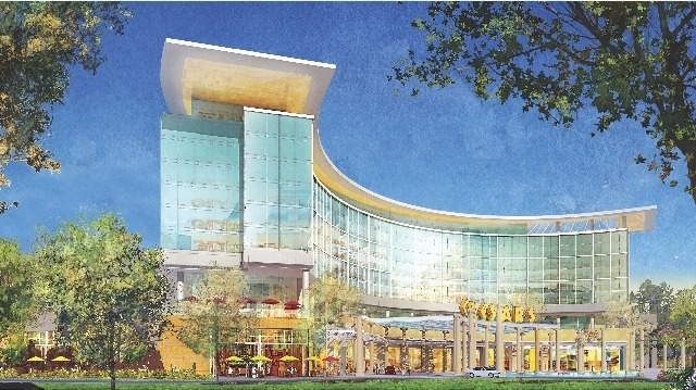 Rendering shows $1 billion hotel-casino Caesars Entertainment wants to build in Boston next to the Suffolk Downs Race Track.