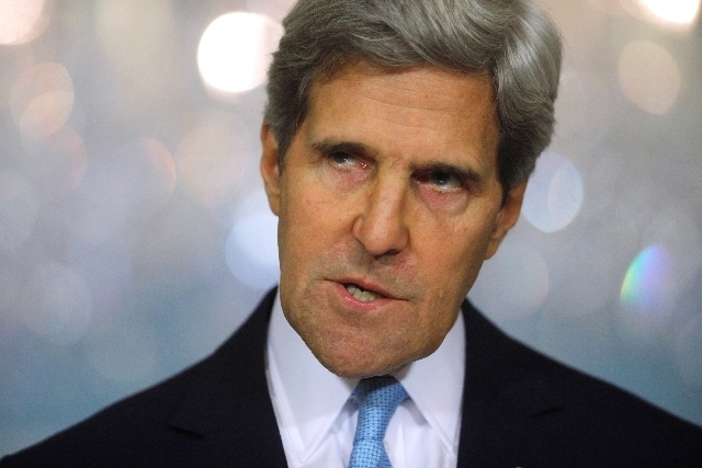 Secretary of State John Kerry makes a statement about Syria at the State Department in Washington, Friday, Aug. 30, 2013. Kerry said the U.S. knows, based on intelligence, that the Syrian regime c ...