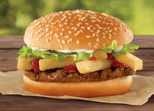 This undated photo provided by Burger King shows a a French Fry Burger, which Burger King is rolling out for $1 as the company looks to fend off a Dollar Menu push by McDonalds. (AP Photo/Burger King)