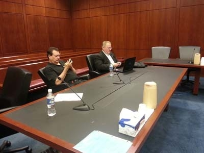 Courtesy attorney Robert Pool  Bonaventura is on the left; an unidentified member of his legal team is next to him on the right. his is from the hearing on July 23, when the constable left a settl ...