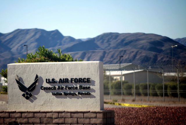 JESSICA EBELHAR/LAS VEGAS REVIEW-JOURNAL The entrance to Creech Air Force Base in Indian Springs, Nev., is seen on Oct. 20, 2011.