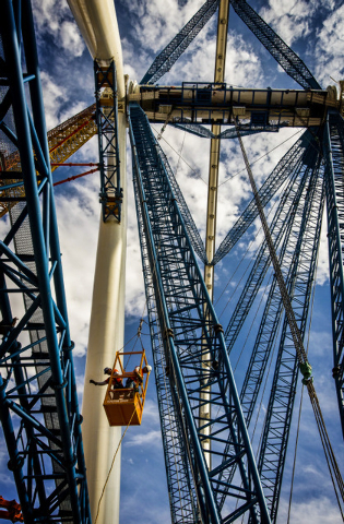 Workmen  as seen Friday, Aug.23, 2013 at High Roller Observation Wheel at The Linq.The 550-foot tall ferris wheel will be the tallest in the world. It is schedule to open in 2014. (Jeff Scheid/Las ...
