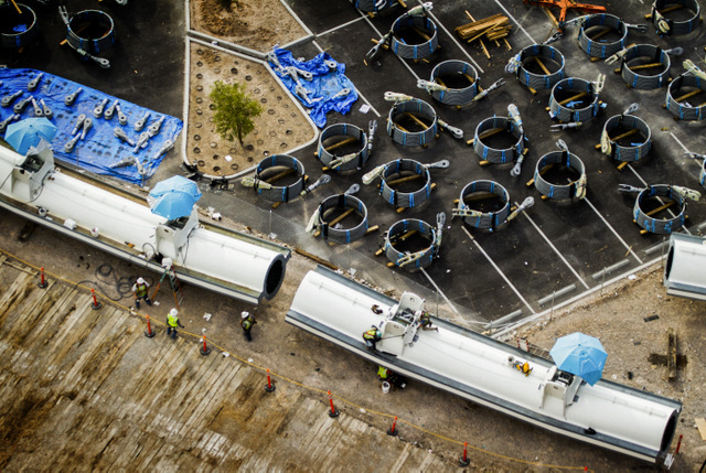 A sections of the High Roller Observation Wheel  at The Linq as seen Friday, Aug.23, 2013.The 550-foot tall ferris wheel will be the tallest in the world. It is schedule to open in 2014. (Jeff Sch ...