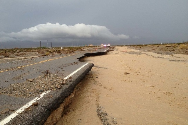 Damage to Kyle Canyon Road, State Route 157, is shown on Sunday. (Michael Balen/USDA Forest Service)