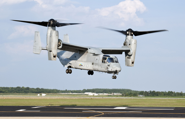 110810-N-ZZ999-001 PATUXENT RIVER, Md. (Aug. 10, 2011) A U.S. Marine Corps MV-22 Osprey lifts off from Naval Air Station Patuxent River during a successful biofuel test flight. The tilt-rotor airc ...