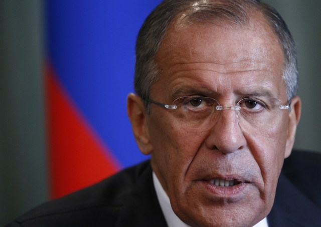 Russian Foreign Minister Sergey Lavrov speaks in Moscow on Monday, Sept. 2, 2013. Russia's foreign minister says the information the U.S. has showed Moscow in trying to prove that the Syrian regim ...