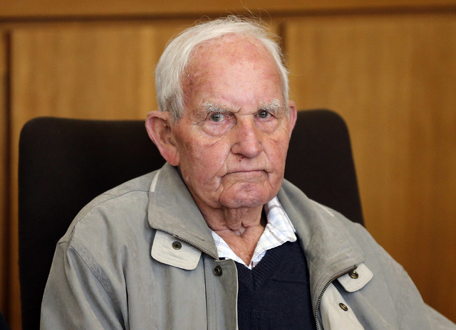 Siert Bruins , 92-year-old former member of the Nazi  Waffen SS, sits in the courtroom of the court in Hagen, Germany, Monday, Sept. 2, 2013. (AP Photo/Frank Augstein)