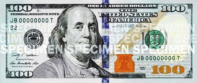 The redesigned $100 bills will be circulated on Oct. 8. (COURTESY)