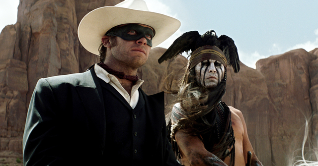 FILE - This undated file publicity photo from Disney/Bruckheimer Films, shows actors, Johnny Depp, left, as Tonto, a spirit warrior on a personal quest, who joins forces in a fight for justice wit ...