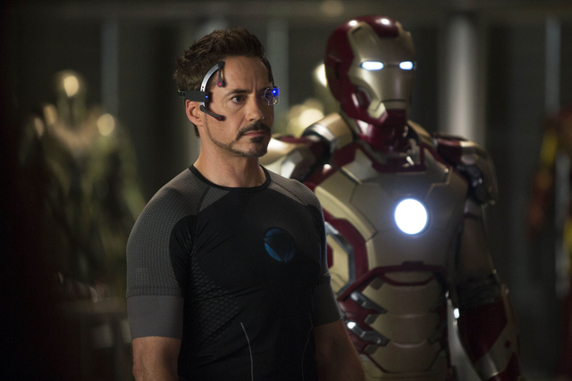 """FILE - This undated publicity image provided by Marvel shows Robert Downey Jr., as Tony Stark/Iron Man, in a scene from """"Marvel's Iron Man 3.""""(AP Photo/Marvel, Zade Rosenthal, File)"""
