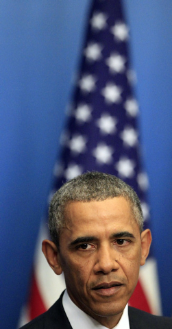 US President Barack Obama, during a press conference at Rosenbad, the seat of the Swedish government in Stockholm, Sweden, Wednesday, Sept. 4, 2013. US President Obama is on a visit to Sweden, ahe ...