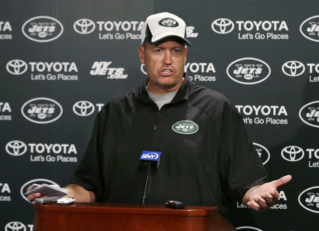 New York Jets coach Rex Ryan answers a question after the NFL football team's practice in Florham Park, N.J. Wednesday, Sept. 4, 2013. (AP Photo/Mel Evans)