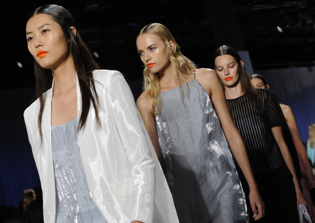 The Rag & Bone Spring 2014 collection is modeled during Fashion Week, Friday, Sept. 6 in New York. (AP Photo/Louis Lanzano)