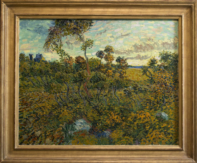 """Sunset at Montmajour"" by Dutch painter Vincent van Gogh is seen during a press conference at the Van Gogh Museum in Amsterdam, Netherlands, Monday Sept. 9, 2013. The museum has identifi ..."