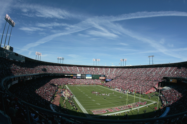 File- This Nov. 11, 2012 file photo shows Candlestick Park is shown during the first quarter of an NFL football game between the San Francisco 49ers and the St. Louis Rams in San Francisco. A foot ...